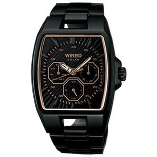 【ALBA】WIRED 日雜時尚腕錶V14J-0BA0SD-玫塊金/IP黑/37x38mm(V14J-0BA0SD)