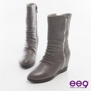 【ee9】時尚心機-百搭素面自然抓皺內增高中筒靴-灰色(中筒靴)