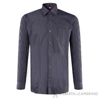 【ROBERTA諾貝達】進口素材 台灣製 嚴選穿搭 品味條紋長袖襯衫(黑色)