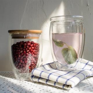 【Homely Zakka】午茶食光隔熱保溫雙蓋雙層玻璃杯/竹蓋密封罐/輕食甜點杯(350ml)