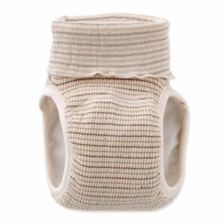 【日本 Nishiki】日本製 肚圍型/可加尿布墊保暖彈性學習褲/尿布褲 - 咖啡條紋(C4071-CO)
