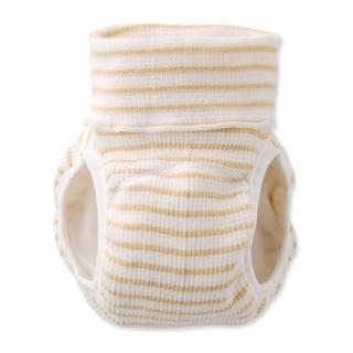 【日本 Nishiki】日本製 肚圍型/可加尿布墊保暖彈性學習褲/尿布褲 - 卡其白條紋(C4072-CO)