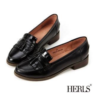【HERLS】全真皮復古流蘇樂福鞋(黑色)