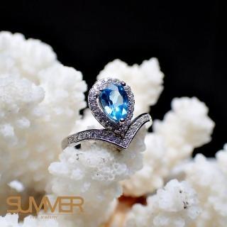 【SUMMER寶石】天然《藍色拓帕石》設計款戒指(-P2-16)