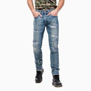 【Levis】501CT 排扣錐型丹寧牛仔褲 / 破壞 / 縫補 / 重磅