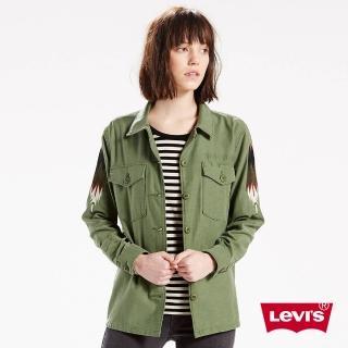 【Levis】女款復古軍裝薄外套 / 刺繡 / 羽毛