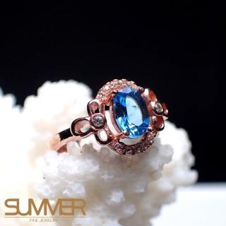 【SUMMER寶石】天然《藍色拓帕石》設計款戒指(P6-4)
