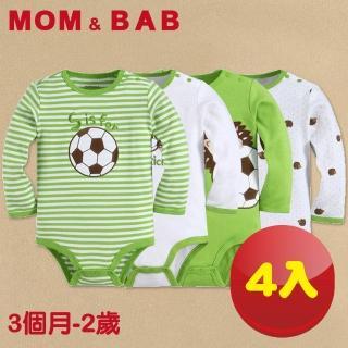 【MOM AND BAB】刺蝟足球長袖 純棉肩扣包屁衣(四件組禮盒組)