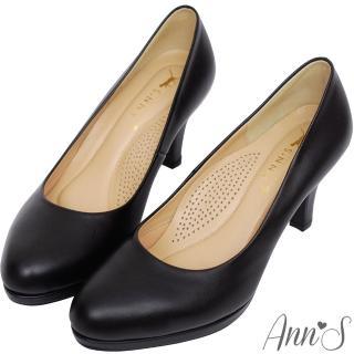 【Ann'S】美腿高度-全真羊皮防水台尖頭高跟包鞋(黑)