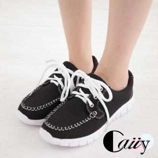 【Caiiy】超輕量綁帶透氣方頭帆船鞋  CF238(黑色)