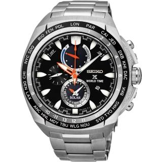 【SEIKO】精工 Prospex 海世界時間時尚腕錶-黑/44.6mm(V195-0AB0D  SSC487P1)