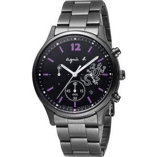 【agnes b.】紫色戀人三眼計時腕錶-黑x紫/39mm(BU8013P1/ V175-0DP0SD)