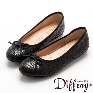【Diffeny】復古簡約   MIT質感編織蝴蝶結平底豆豆鞋(黑)