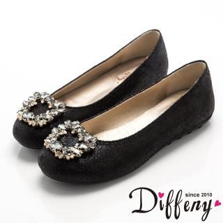【Diffeny】宮廷華麗   璀璨耀眼寶石鑽飾平底豆豆鞋(黑)