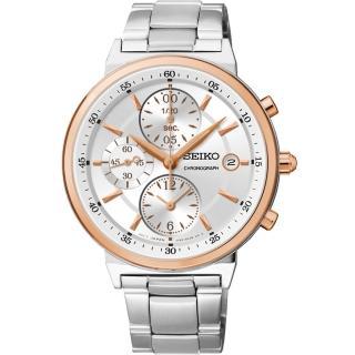 【SEIKO】夏日協奏曲三眼計時腕錶-銀x玫塊金框/36mm(7T92-0RS0K  SNDW48P1)