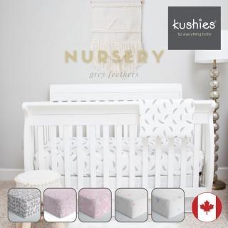 【加拿大 kushies】純棉棉絨床包 70x140cm(淺灰花紋)