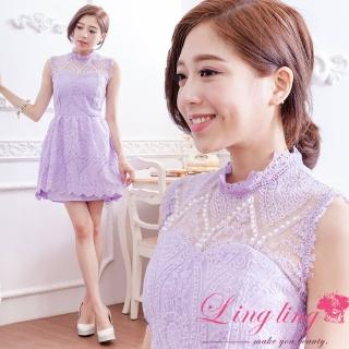 【lingling】飾珠蕾絲花紋立領背心小禮服洋裝PA3002-03(高貴紫)