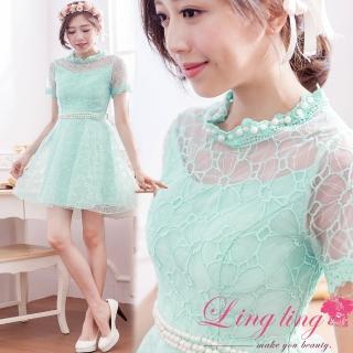 【lingling】珠珠透膚花紋紗短袖小禮服洋裝PA2996-05(亮眼綠)
