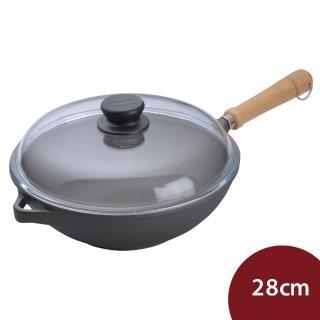 【德國寶迪Berndes】Bonanza 木柄28cm中式炒鍋+鍋蓋(寶迪鍋 平底鍋 德國製造)