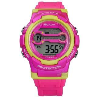 【JAGA 捷卡】搶眼青春活力電子運動橡膠手錶 桃黃色 39mm(M1126-GF)