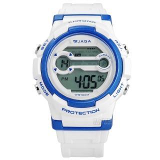 【JAGA 捷卡】搶眼青春活力電子運動橡膠手錶 藍白色 39mm(M1126-DE)