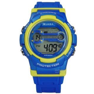 【JAGA 捷卡】搶眼青春活力電子運動橡膠手錶 藍黃色 39mm(M1126-EK)