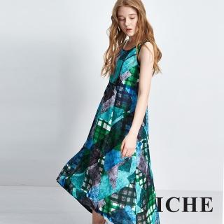 【ICHE 衣哲】滿版印花背心長版洋裝