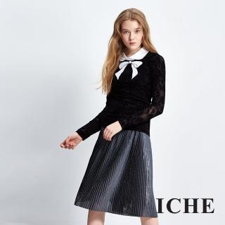 【ICHE 衣哲】蝴蝶結立體花假兩件造型上衣
