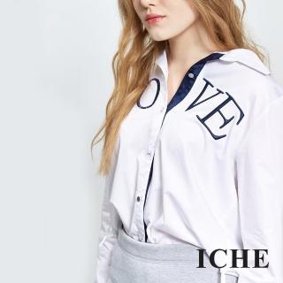 【ICHE 衣哲】配色滾邊字母造型襯衫兩色
