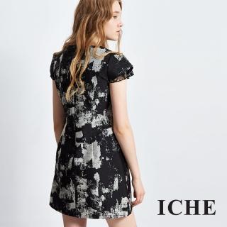 【ICHE 衣哲】印花拼接蕾絲袖造型洋裝