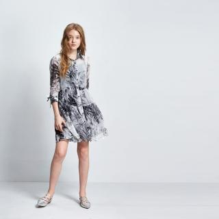 【ICHE 衣哲】水墨印花長版襯衫/洋裝兩穿