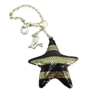 【agnes b.】立體星星條紋亮片造型吊飾(黑x黃/金鍊帶)