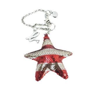 【agnes b.】立體星星條紋亮片造型吊飾(紅x銀/銀鍊帶)