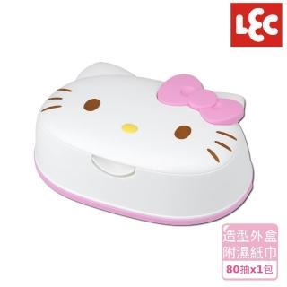 【日本LEC】日本LEC Hello Kitty純水99.9%盒裝濕紙巾(日本製超萌可愛造型純水99.9%造型外盒+80抽x1包)