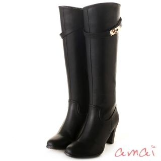 【amai】皮帶金鎖2WAY顯瘦長靴(黑)
