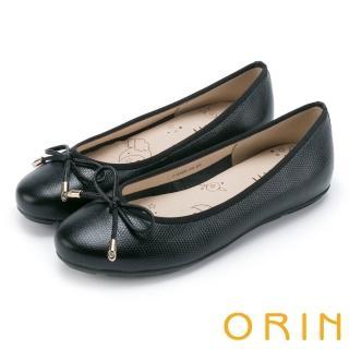 【ORIN】氣質女孩 經典壓紋牛皮平底娃娃鞋(黑色)