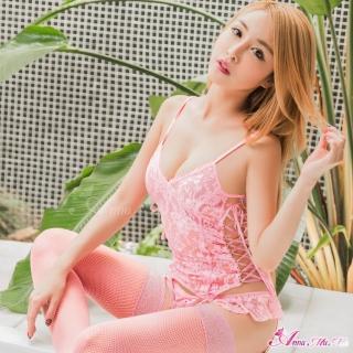 【Anna Mu】情趣睡衣 粉紅蕾絲馬甲四件組