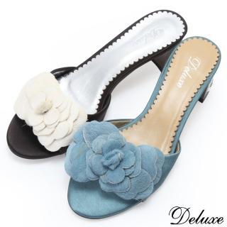 【Deluxe】山茶花馬毛真絲粗跟拖鞋(黑-綠)