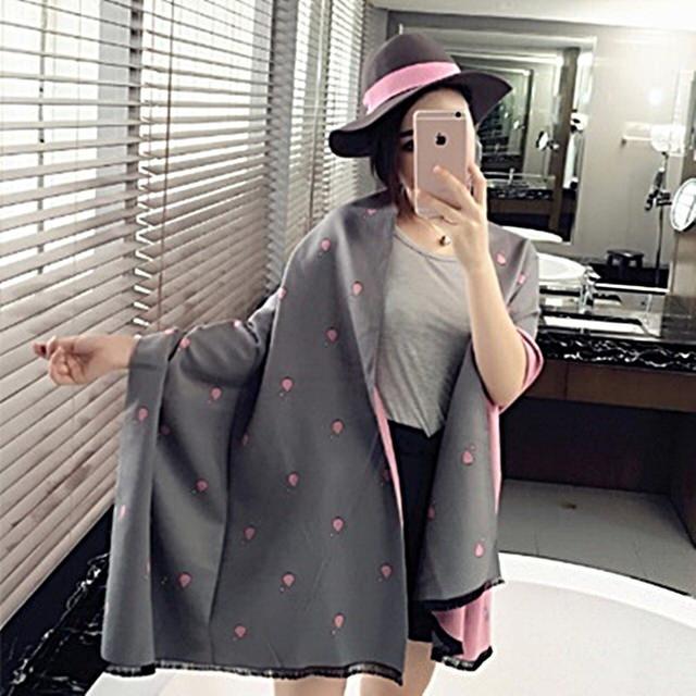 【米蘭精品】羊毛圍巾長披肩(自然風格點點印花防寒保暖女圍脖4色73hy55)