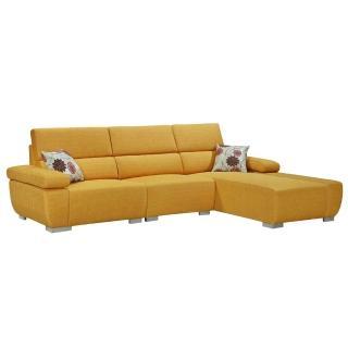 【Bernice】艾莉L型亞麻布沙發-左右型(送抱枕)
