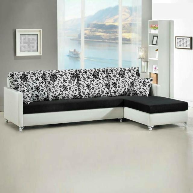 【Bernice】愛莉珠光皮L型沙發-左右型(送抱枕)