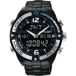 【ALBA雅柏】雙顯機芯時尚電子男用腕錶(44mm/AZ4015X1/N021-X002SD)