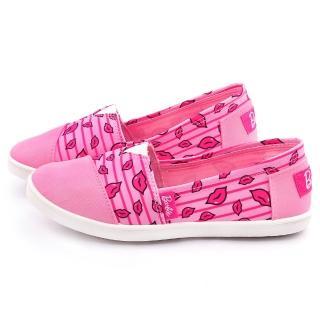 【童鞋城堡】Barbie芭比 女款 俏皮紅脣帆布休閒鞋(BR7815-粉)