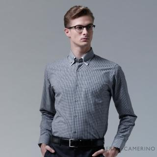 【ROBERTA諾貝達】台灣製 合身版 簡約格紋長袖襯衫(黑白)