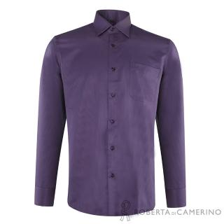 【ROBERTA諾貝達】台灣製 合身版 吸溼排汗長袖襯衫(深紫)