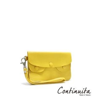 【Continuita 康緹尼】頭層牛皮手拎零錢包(黃色)