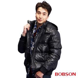 【BOBSON】男款壓橫格羽絨外套(黑33036-88)