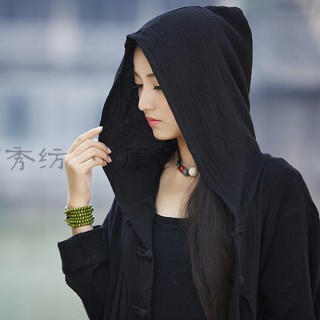 【BRIGA-BYCL2231】BRIGA-BYCL2231棉麻女裝原創復古連帽女式披風袍子外衣外套(BYCL2231)