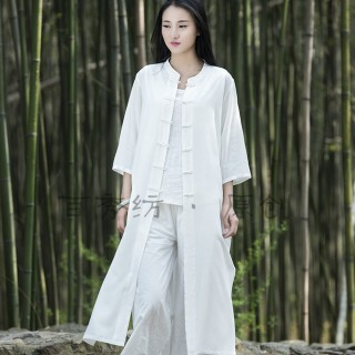 【BRIGA-BYCL2208】BRIGA-BYCL2208原創棉麻女裝新款復古中國風盤扣女式大褂外衣外套(BYCL2208)