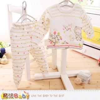 【魔法Baby】寶寶居家套裝 專櫃款超厚三層棉極暖睡衣套裝(k60168)   魔法Baby